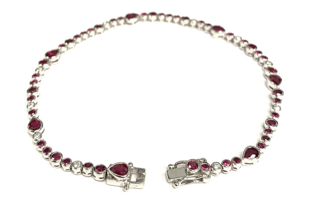 18K White Gold Ruby and Diamond Tennis Bracelet