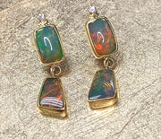 14K Yellow Gold Double Drop Ethiopian Opal & Diamond Earrings