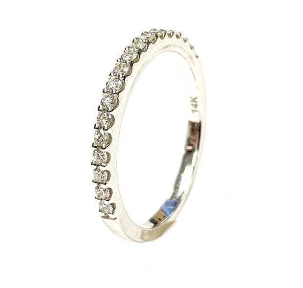 14K White Gold Diamond Stacking Band