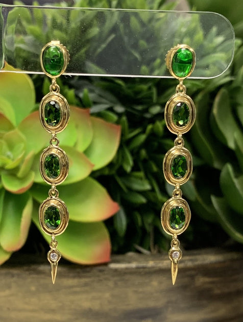 Details about  /Chrome Diopside Natural Gemstone Earrings 1.51 Ct 14k Rose Gold Jewelry