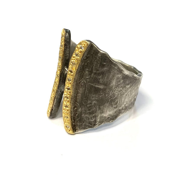 Sterling Silver Hammered Ring with 21k Gold Diamond Strips