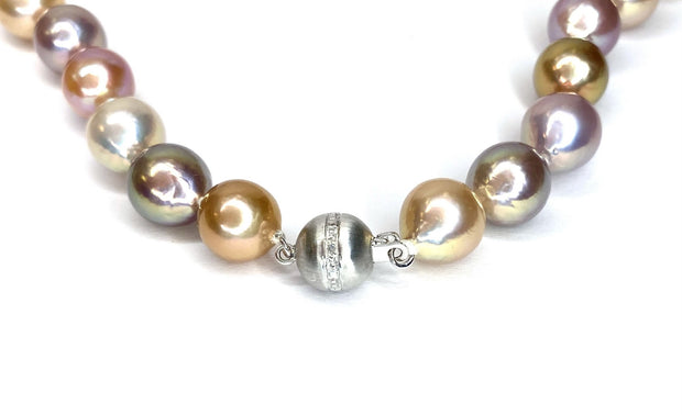 Freshwater Pearl Necklace With 14K White Gold Brushed Clasp