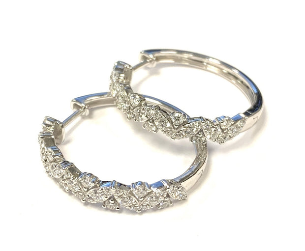 14K White Gold Diamond Hoop Earrings 1.09 ctw