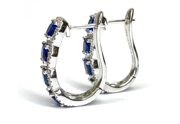 18K White Gold Sapphire & Diamond Earrings