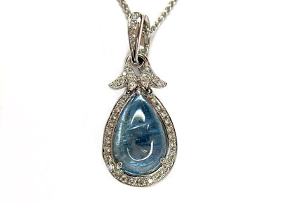 14K White Gold Aquamarine & Diamond Pendant