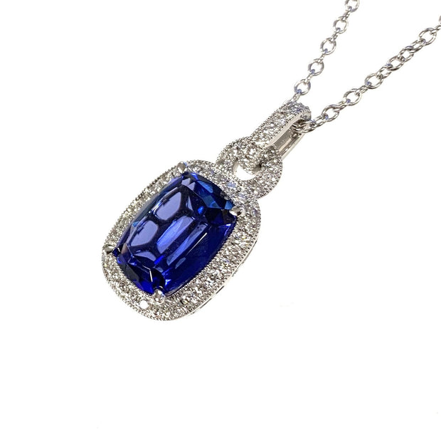 14K White Gold Tanzanite Diamond Halo Necklace