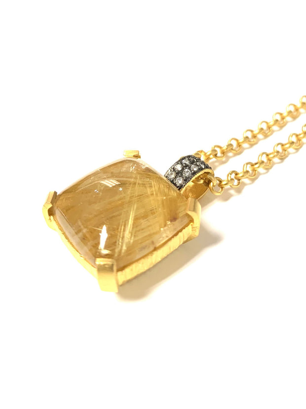 22K Bonded Gold Over Sterling Silver Rutile Quartz Necklace