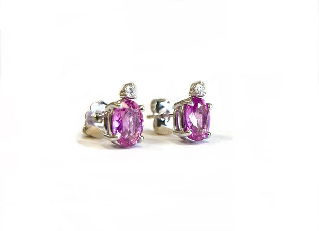 14K White Gold Diamond & Pink Sapphire Earrings
