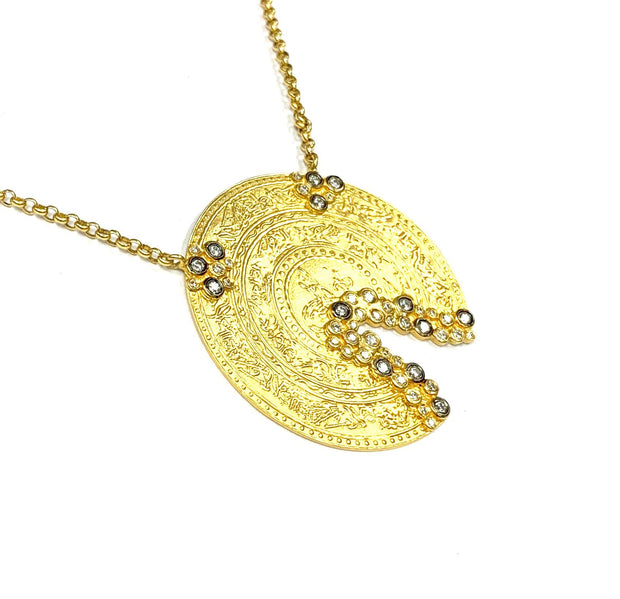 Gold Bonded/Sterling Silver Diamond Necklace