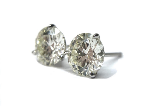 14K White Gold Diamond Studs = 2.04 ctw