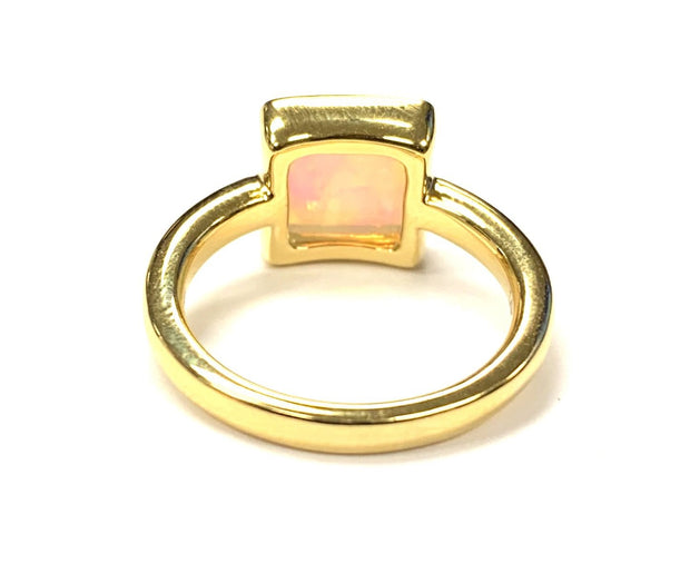 14K Yellow Gold Bezel Set Opal Ring