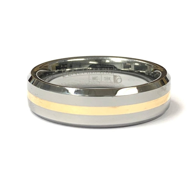 Tungsten and 18K Yellow Gold Beveled Wedding Band