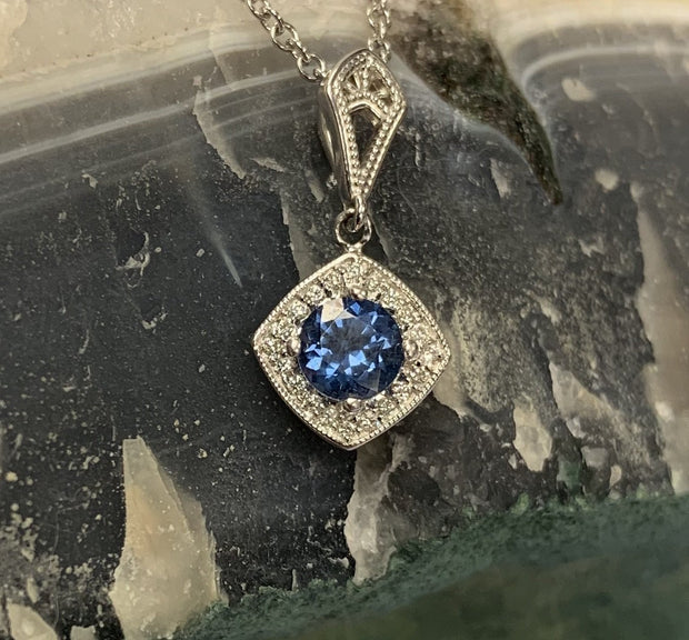 14K White Gold Spinel and Diamond Halo Necklace