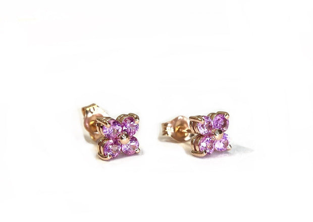 14K Rose Gold Pink Sapphire Cluster Earrings