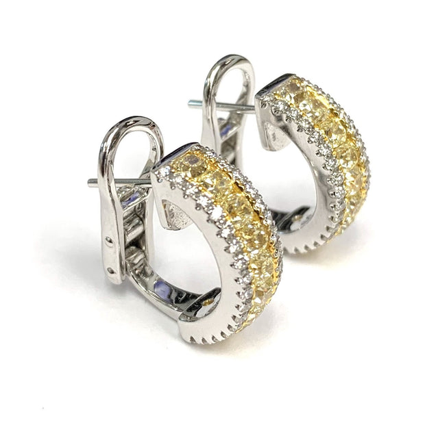 18k White and Yellow Gold Yellow Diamond Earrings
