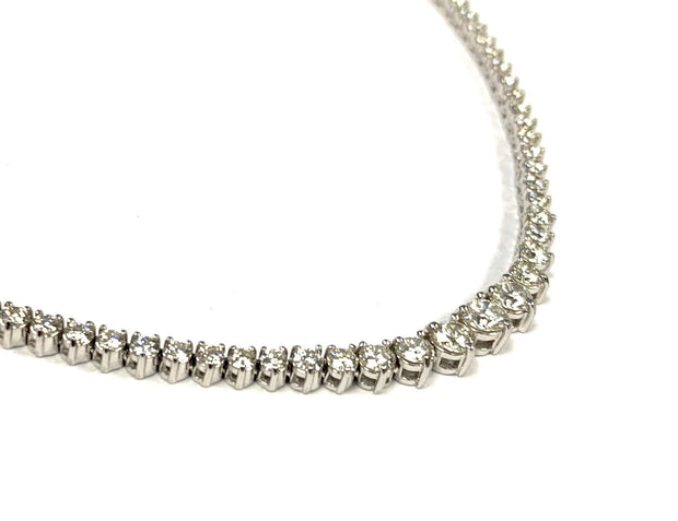 14K White Gold 7.84 ctw Diamond Riviera Necklace