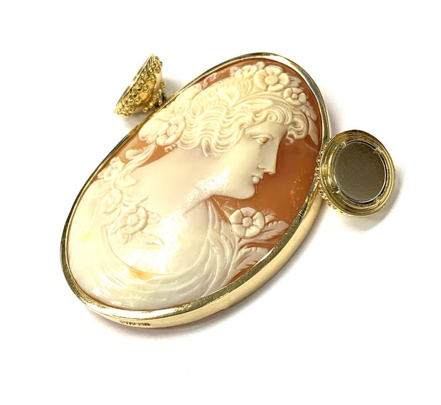 14K Yellow Gold Shell Cameo Pendant by CWC