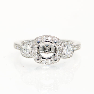 14kt White Gold  3 Stone Halo Diamond Semi-Mounting
