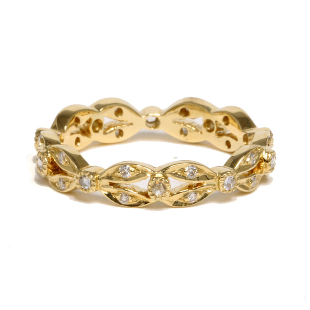 18kt Yellow Gold Diamond Wreath Band