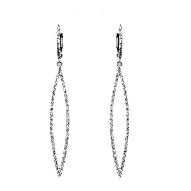14K WHITE GOLD DIAMOND DROP EARRINGS