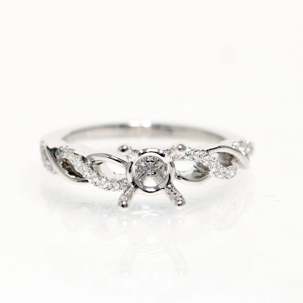 18kt White Gold Twist Diamond Semi-Mounting