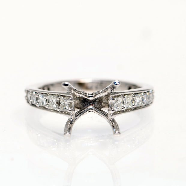 14kt White Gold Princes Diamoond Semi-Mounting