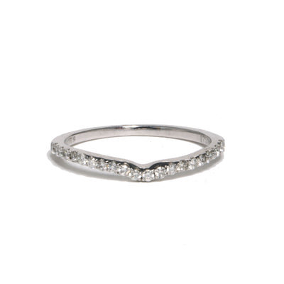 18kt White Gold Contoured Prong Set Diamond Ban