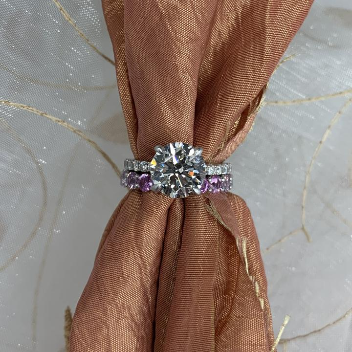 Solitaire Custom Engagement Ring with Colored Gemstones