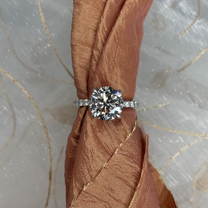Solitaire Custom Engagement Ring with Diamond Band
