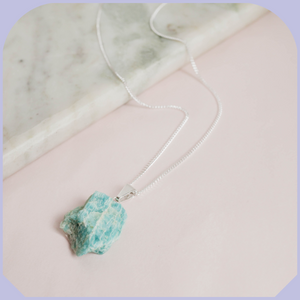 Raw Amazonite Silver Necklace