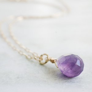 Tiny Gold Amethyst Necklace