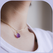 Load image into Gallery viewer, Tiny Gold Amethyst Necklace