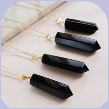 Load image into Gallery viewer, Black Obsidian Necklace Gold