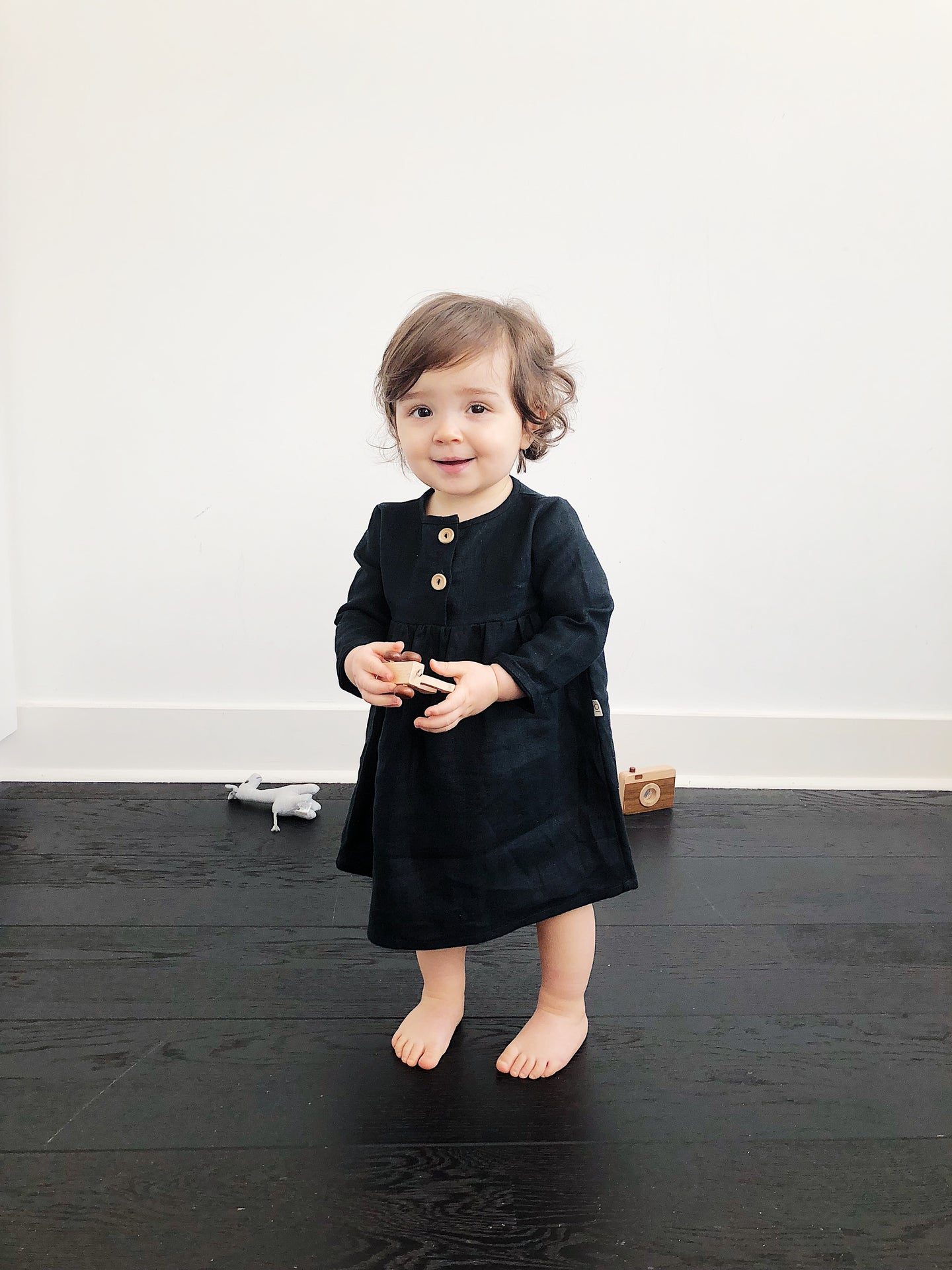 Luna Smock Dress in 100% Linen Black