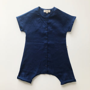River Play Suit in 100% Linen (Unisex) Midnight Blue