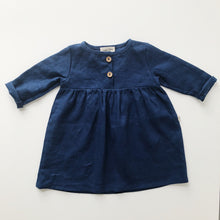 Luna Smock Dress in 100% Linen Midnight Blue