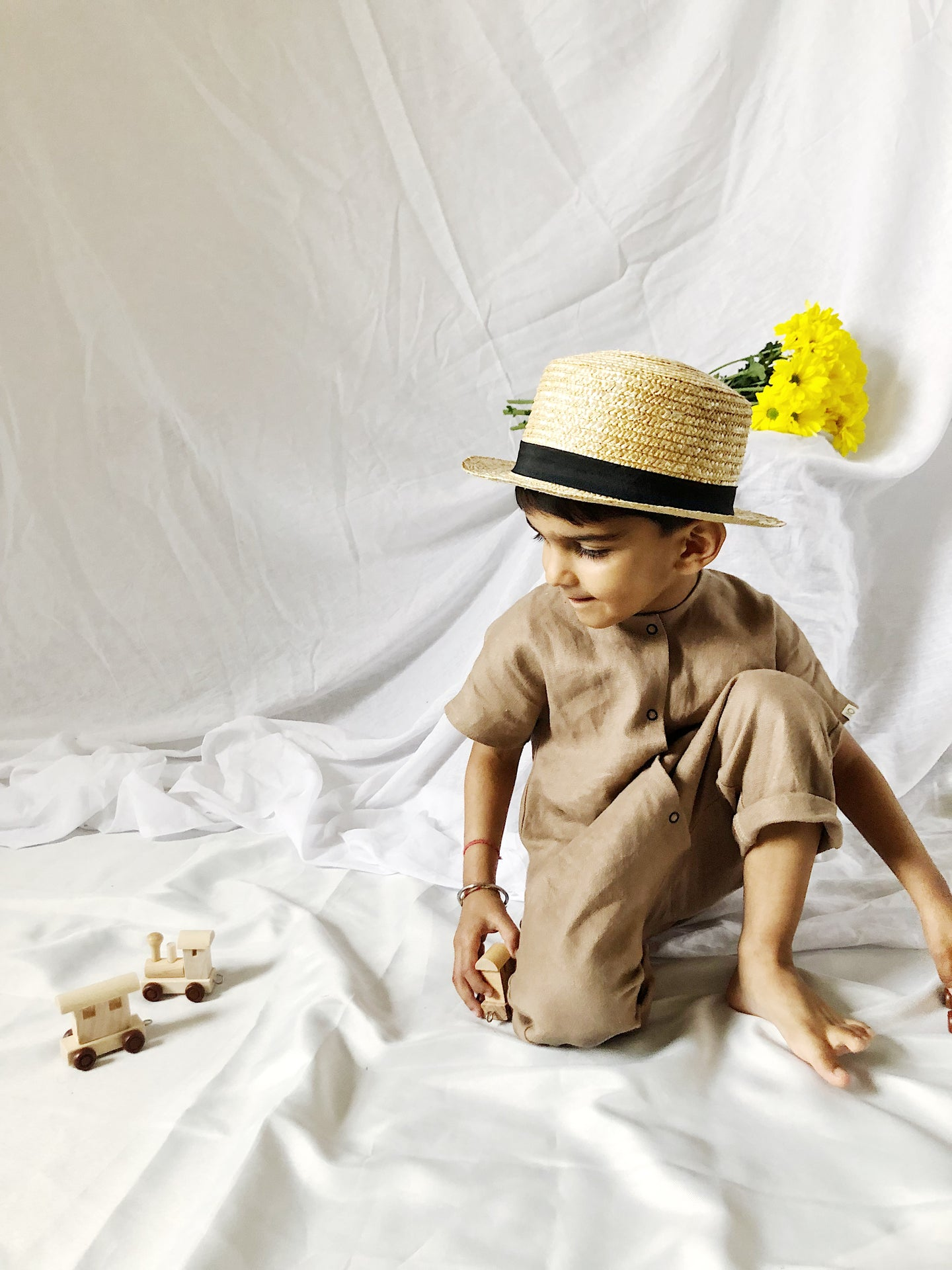 River Play Suit in 100% Linen (Unisex) Mocha