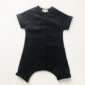 River Play Suit in 100% Linen (Unisex) Black