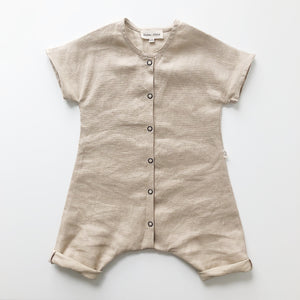 River Play Suit in 100% Linen (Unisex) Oat