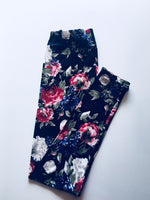 Floral Black and Rose Leggings
