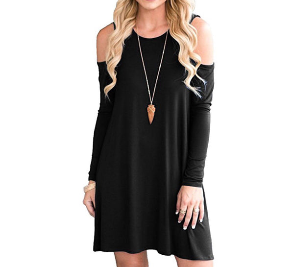 Open cold shoulder tunic dress