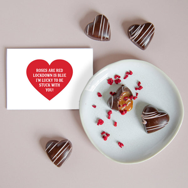 Valentine's Day Salted Caramel & Raspberry Chocolate Hearts