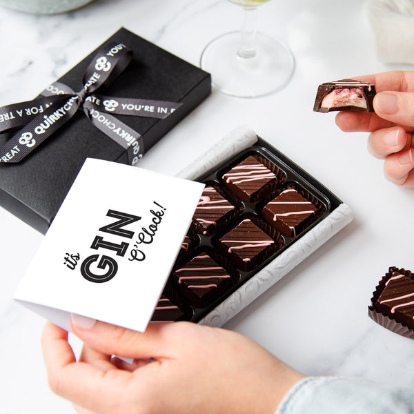 It's Gin O'Clock Handmade Chocolates with Pink Gin & Raspberries