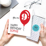 Personalised Age & Name Balloon Chocolate Card
