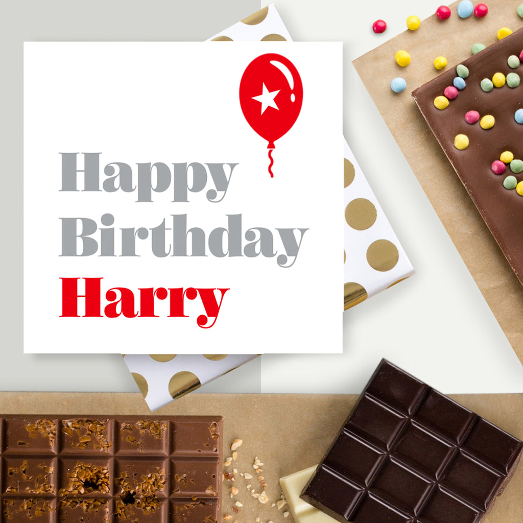 Personalised Happy Birthday Balloon Chocolate Card