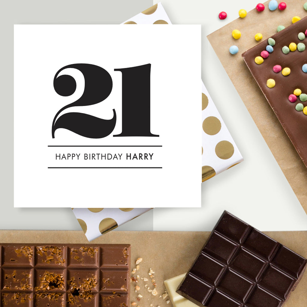 Personalised Happy 21st Birthday Chocolate Card