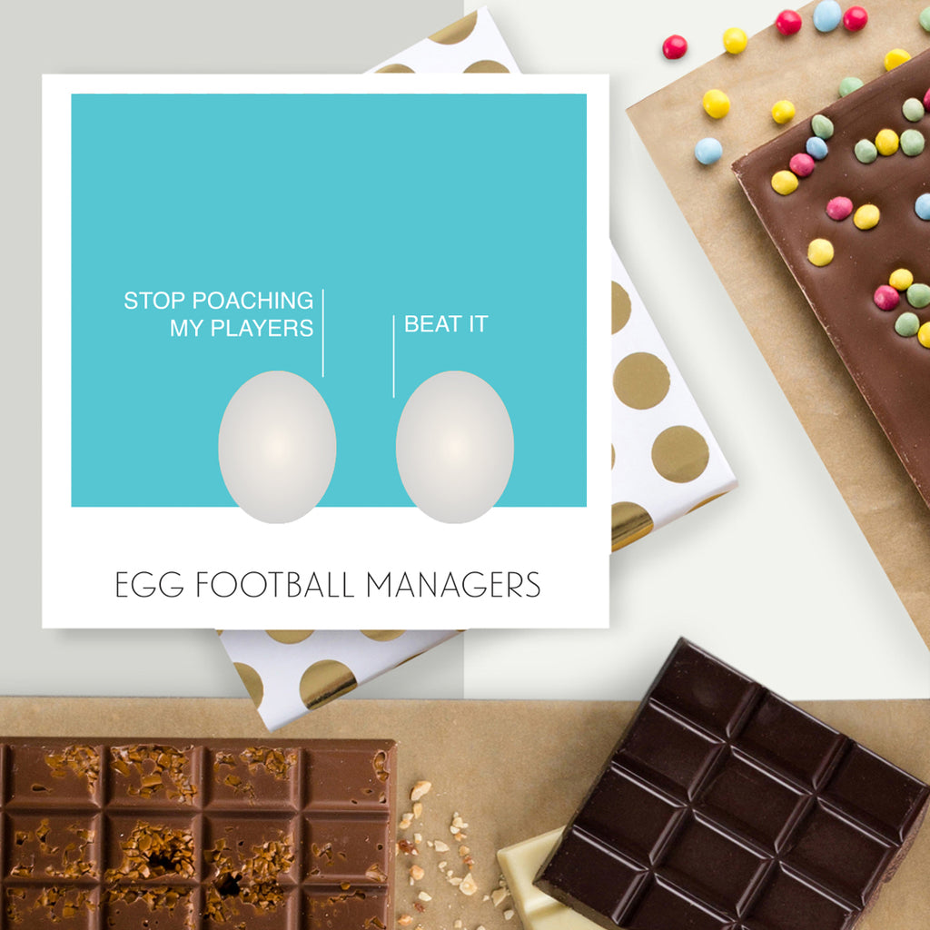 Egg Football Managers Easter Chocolate Card