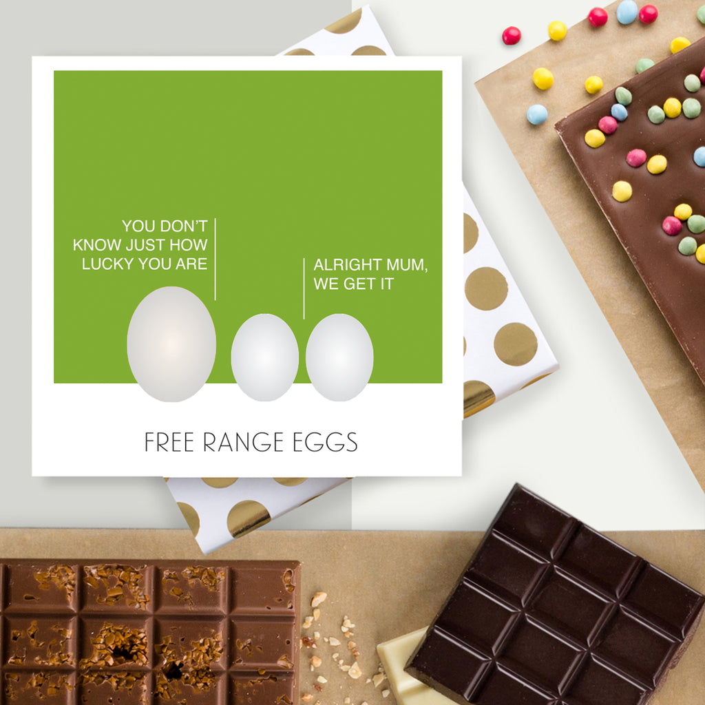 Free Range Eggs Chocolate Easter Card