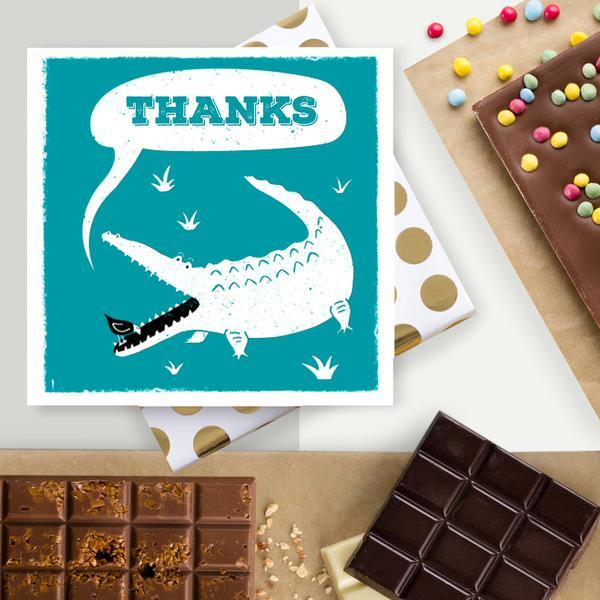 Quirky Crocodile Thank You Chocolate Card
