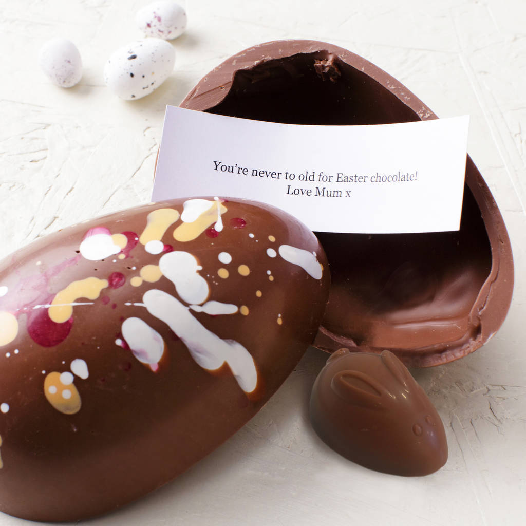 Easter Bunny Chocolate Egg with Surprise Message